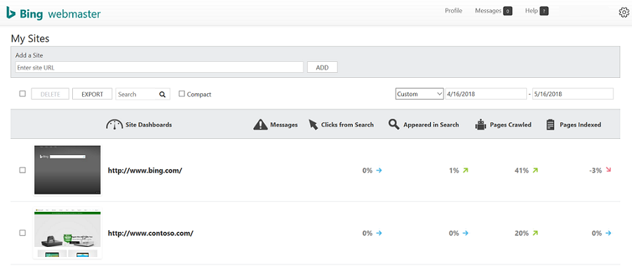 My Sites in Bing Webmaster Tools