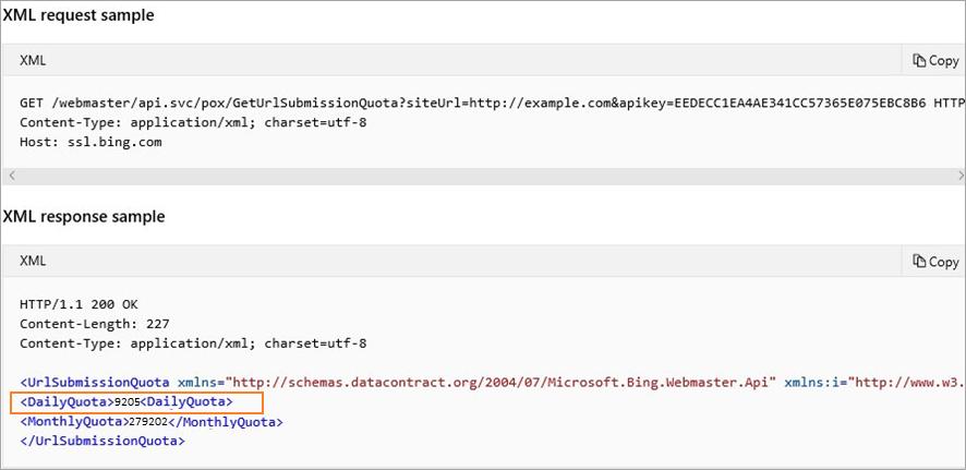 URL Submission Quota API