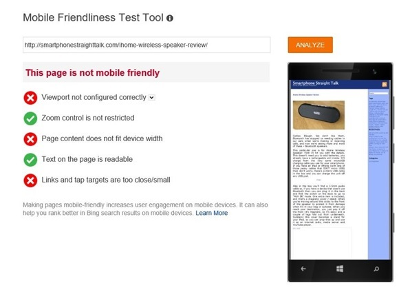 Mobile Friendliness Tool: Viewport not configured correctly