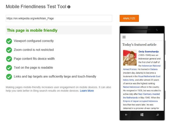 Mobile Friendliness: A Page that is Mobile Friendly